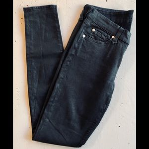 7 for All Mankind Black Skinny Jeans Sz 28